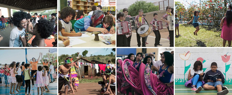 Mosaico com 8 fotos que representam diversas ações realizadas pelo Itaú Social